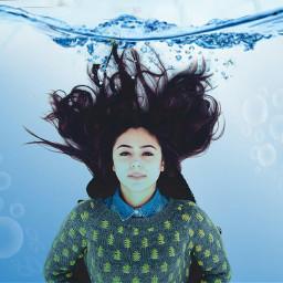 freetoedit woman floating water swin