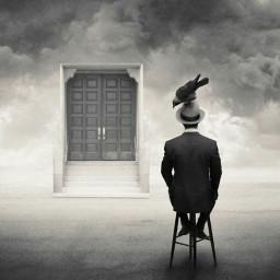 blackandwhite oldphoto man birds door