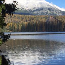 interesting mountains trees lake sky