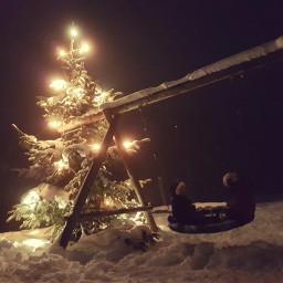 christmastree swing snow children freetoedit