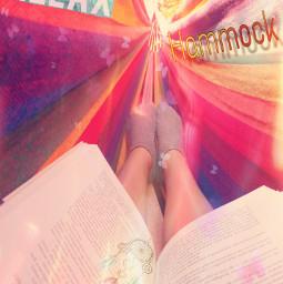 garden hammock relax read book freetoedit