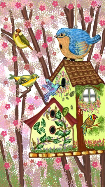 #wdpbirdhouse # painted bird house # trees # birds # flowers # drawing # my drawing # used pa drawing tool # no stamps # no stickers # no clip art # step by step layer diagram of my drawing uploaded in my gallery